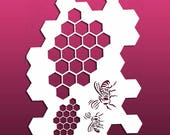 Bee and Honeycomb Shaped Stencil for Bullet and Art Journals, Planners, Multi Media, Signs and Home Decor - Mylar, 7 mil Reusable Stencil