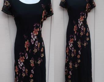 90s Black Floral Beaded Midi Dress / Bias cut / 1990s punk grunge // Sz Sml - Med