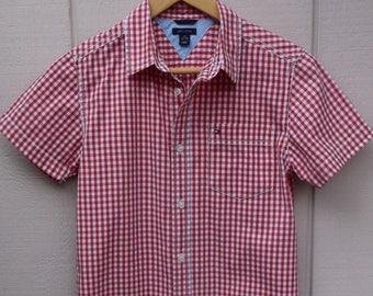 Red Gingham Tommy Hilfiger Shirt / Youth - Boys size 16/18 - Ladies size Sml