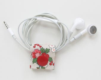 Extra Small Cord Keeper | Cotton fabric earbud headphone organizer holder for small cords and cables.
