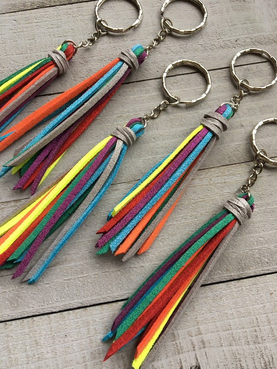 """Rainbow Tassel Keychain - Mini 3.5"""" Faux Suede Tassel - Keyring, Keychain with Tassel, Colorful Tassel, Gift for Her, Gift for Him (ST117)"""