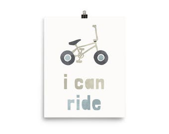 I Can Ride kid's room bicycle Poster