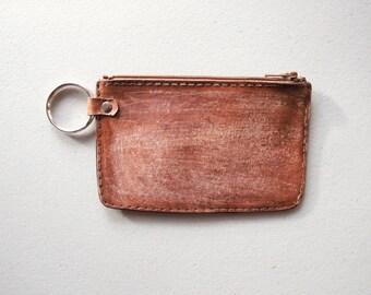 Monogram Wallet,  Rustic Brown VegTan Leather, Zipper Wallet, Minimalist, Custom Monogramme, Gift for Him, Made in Canada, Modern Leather