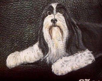 Bearded Collie Dog Custom Painted Men's Leather Wallet Gift for Men