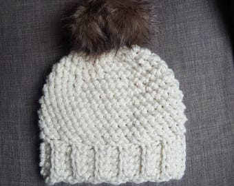 Cream Chunky Crocheted Hat with Tan & Brown Pom-Pom for Women