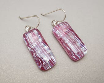 Magenta purple plum fused  dichroic glass earrings dangle drop sterling silver ear wires