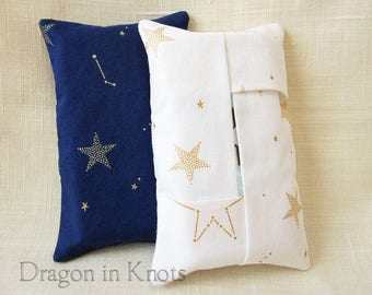 Star Pocket Tissue Holder - Navy Blue or White Constellation Cotton Fabric Travel Tissue Cover for Pocket or Purse, Night Sky Back to School