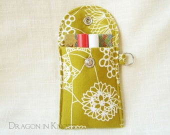 Lip Gloss Case - Halloween Spider and Doily Web Insulated Lip Balm Pouch with Snap, Dark Mustard Yellow, White, Silver Arachnid, Keychain