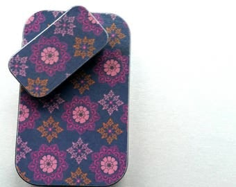 Large hinge tin and Small slide tin Duo. . . Pink and Orange on deep purple.