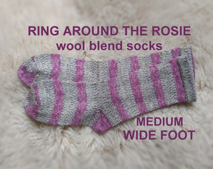 Ring Around The Rosie Socks --- washable wool blend --- MEDIUM WIDE FOOT