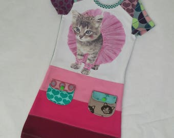 Size 4T upcycled toddlers dress, girls clothing, children's clothing, pussycat, girls dress, ballet, kitten, pink, girls dress
