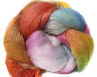 MERINO SILK BAMBOo roving top handdyed spinning fibre 3.5 oz