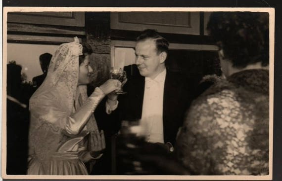 Raising a Glass - Mimi and Andries - Vintage Wedding Party Photo Postcard