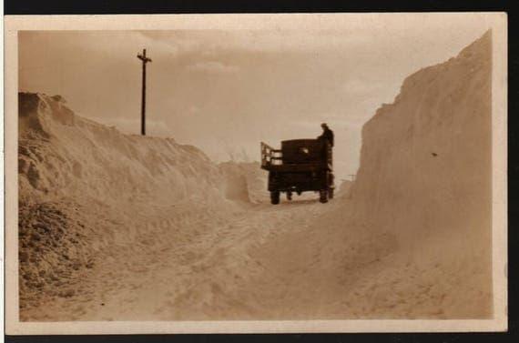 Winter Scene -  Truck Driving Through Snow - Vintage Photo Postcard