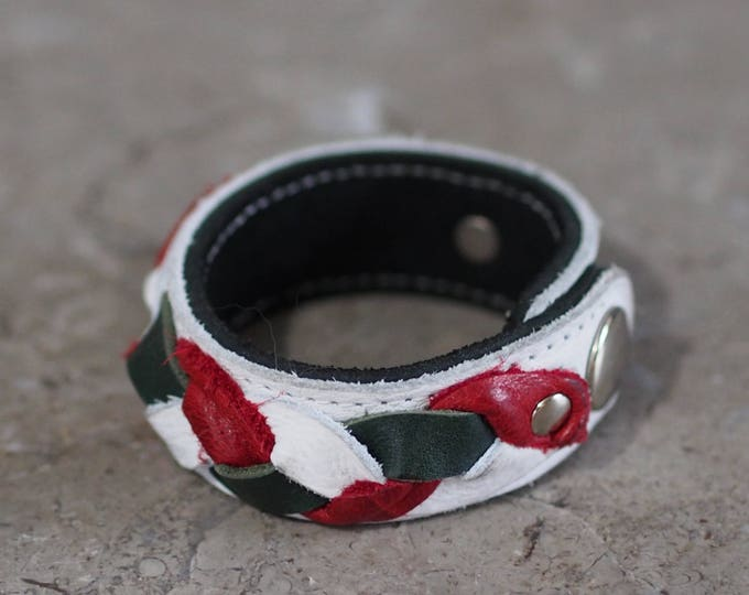 Braided leather bracelet for holiday or national pride