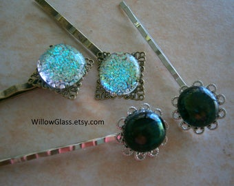 Choice Dichroic or Iridescent Glass Bobby Pins, Glass Bobbi Pins in Filigree Setting, Hair Accessories, Willow Glass