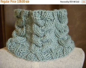 SALE Seafoam Cowl, Pale Aqua Knit Cable Scarf, Sea Foam Neck Warmer