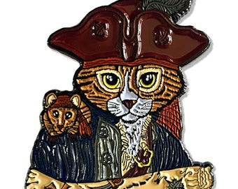 Pirate Cat Enamel Pin Pirate Rat Lapel Pin Captain Cat Brooch Treasure Map Mouse Badge Cat Button Gift for Cat Lovers Jewelry