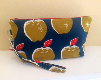 The Essential Zipper Wristlet- Mustard and Navy Apples