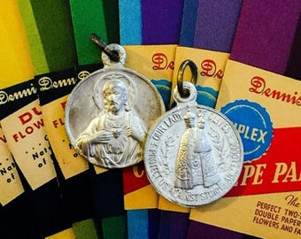 SALE 2pcs LADY OF Olives Vintage Religious Medals Protect Us Against Storms & Floods France