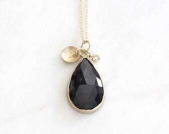 14k gold sapphire necklace, diamond charm, eco friendly rose cut sapphire, handmade, stardust charm