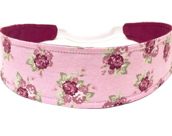 Girls Pink Floral Headband, Baby, Childrens, Toddler, Reversible Fabric Headband - Dusty Pink, Burgundy - VINTAGE PINK ROSES