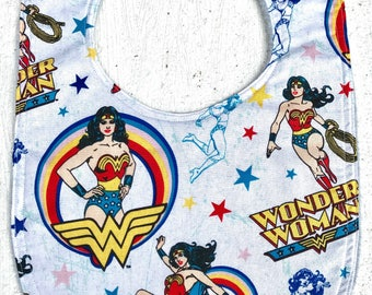Wonder Woman Baby Bib - infant - dribble bib - baby Girl - superhero - geek baby - baby shower gift
