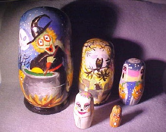 Nesting Dolls, Wooden, Halloween, Witches, Pumpkins, Cauldron, Ghosts, Owl, Trees - by Patricia Ann Rizzo