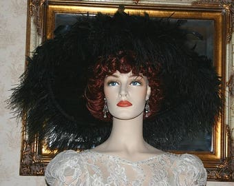 Kentucky Derby Ascot Hat Edwardian Hat Feathered Downton Abby Hat - Feathered Frenzie - Wide Brim Hat Womens