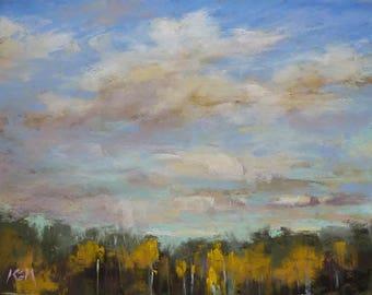 Autumn CONTEMPORARY landscape Cottonwoods Big Sky Original Pastel Painting  Karen Margulis 9x12