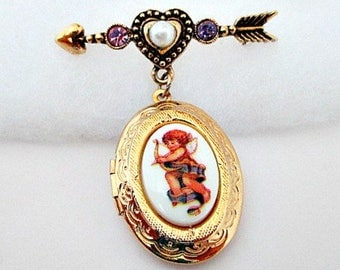 Locket Pin Brooch - Vintage Cherub Angel Pin - Avon Cherished Moment Locket Pin - Locket Jewelry Gift