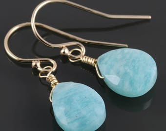 Amazonite Earrings. Gold-Filled Ear Wires. Genuine Gemstone. f17e035