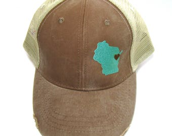 Distressed Snapback Trucker Hat - Aqua on Brown Wisconsin Hat - Heart over Green Bay