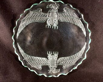 Phoenix Rise glass platter dish Carved glass Kiln art  Shipping Included