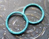 Blue Brass Notched Links  - 4 - 16mm Patina Brass Artisan Circles