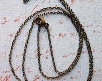 26 inch Antiqued Brass Plated Chain Necklace with Lobster Claw Clasp - 2mm closed links