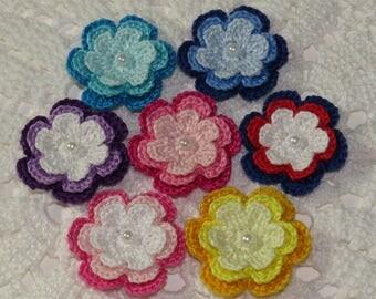 Three Layers Crochet Flowers in Three Tones - 7 Pcs - Crochet Applique Embellishment