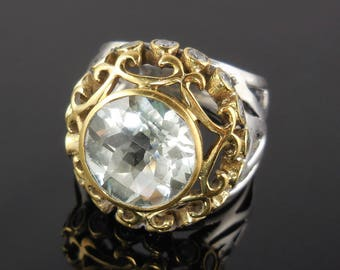 White topaz sterling silver bi-color ring – size 6.75