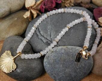 Gold-filled rose quartz gemstone ginkgo leaf necklace
