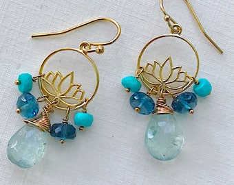 Lotus Gemstone Petite Earrings