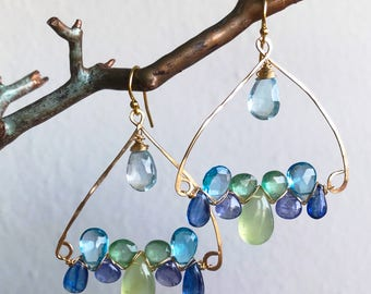 Prehnite, Tanzanite, Kyanite Woven Earrings