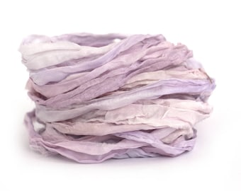 Handdyed chiffon silk ribbon recycled 10metres Buddleia rose quartz pink lilac purple, textile arts, bouquet wrap, mixed media