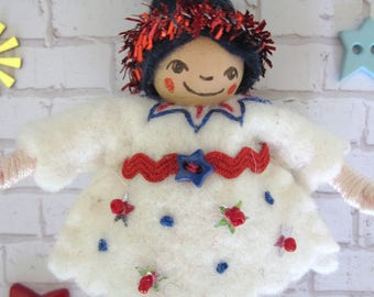 Stars and Stripes Pixie in White Art Doll Ornament