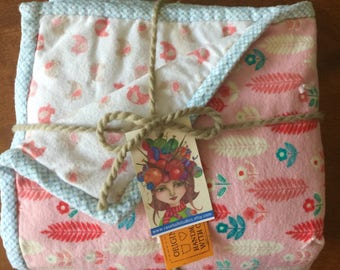 Hand made, soft, flannel, reversible baby blanket, medium/high loft poly batting stylized leaf pattern and birds