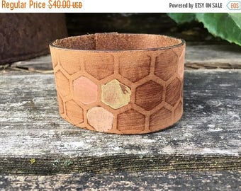 CRAZY SALE- Embossed Leather Cuff-Create Your Own-Hand Painted Honeycomb-Word Cuff