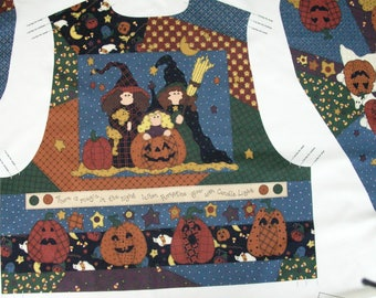 Halloween Vest PrePrinted Fabric Ready to Sew, Leslie Beck for V.I.P.,  Cranston Prints Fabric Craft Panel
