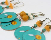 Bottle cap earrings. Bell's Brewery Smitten Golden Rye Ale . Long earrings. Reuse. Recycle. Upcycle. Turquoise. Daisy. Orange and Blue.