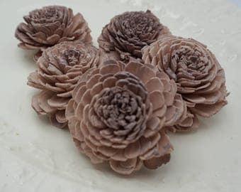 Purple Grey Sola Bali Wood Flowers- qty 5