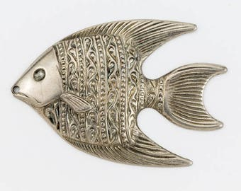 40mm Antique Silver Left Facing Angelfish Charm #2070B