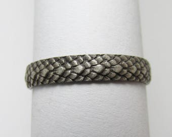 Dragon Scale ring Oxidized Sterling Silver Size 5 3/4
